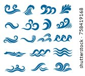 Big Set Of Stylized Ocean Wave...