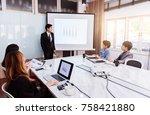 businessman standing in front... | Shutterstock . vector #758421880