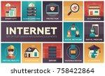 internet   set of flat design... | Shutterstock .eps vector #758422864