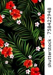 seamless hand drawn tropical... | Shutterstock .eps vector #758422948