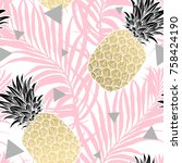 seamless tropical pattern.... | Shutterstock .eps vector #758424190