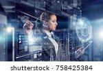 innovative media technologies... | Shutterstock . vector #758425384