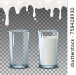 realistic transparent glasses ... | Shutterstock .eps vector #758428930