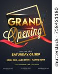 grand opening flyer or... | Shutterstock .eps vector #758431180