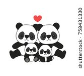 panda family cartoon | Shutterstock .eps vector #758431330