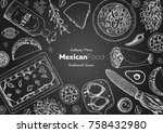 mexican food top view frame. a... | Shutterstock .eps vector #758432980
