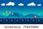 pixel art seamless background.... | Shutterstock .eps vector #758433880