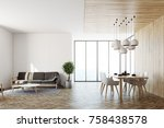 living room interior with white ... | Shutterstock . vector #758438578