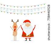 happy santa claus with reindeer ... | Shutterstock .eps vector #758440528
