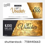 gift voucher template or... | Shutterstock .eps vector #758440663