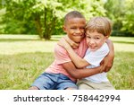 two kids as friends fighting... | Shutterstock . vector #758442994