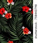 seamless  tropical vector... | Shutterstock .eps vector #758443798