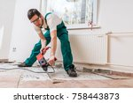 demolition of old tiles with... | Shutterstock . vector #758443873
