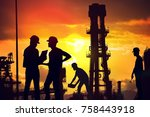 silhouettes of workers working... | Shutterstock . vector #758443918