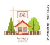 for lease. home for rent icon.... | Shutterstock .eps vector #758445199