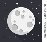 moon with stars flat design icon | Shutterstock .eps vector #758454370