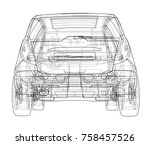 car sketch. vector rendering of ... | Shutterstock .eps vector #758457526