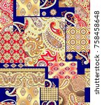 paisley pattern with navy...   Shutterstock . vector #758458648