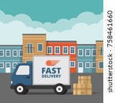 delivery service. delivery... | Shutterstock .eps vector #758461660