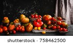 heirloom variety tomatoes on... | Shutterstock . vector #758462500