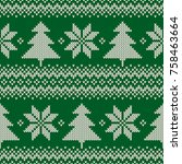 winter holiday seamless knit... | Shutterstock .eps vector #758463664