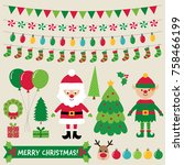 christmas characters and... | Shutterstock .eps vector #758466199