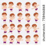 cartoon character white boy in... | Shutterstock .eps vector #758466868