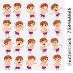 cartoon character white boy in... | Shutterstock .eps vector #758466868