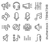 sound icons set vector  audio... | Shutterstock .eps vector #758467348