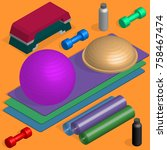 set of sports equipment items.... | Shutterstock .eps vector #758467474