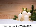 two white burning candle for...   Shutterstock . vector #758469076