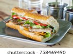 close up of banh mi  a french... | Shutterstock . vector #758469490