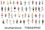 collage of people with jumping... | Shutterstock . vector #758469940