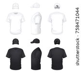 white and black t shirts and... | Shutterstock .eps vector #758471044