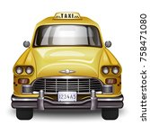 retro taxi. vintage yellow car... | Shutterstock .eps vector #758471080
