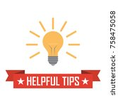 helpful tips. ribbon with bulb... | Shutterstock .eps vector #758475058