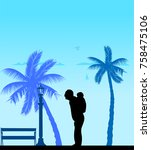 grandfather carrying a child... | Shutterstock .eps vector #758475106