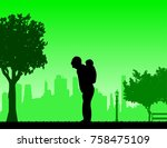 grandfather carrying a child... | Shutterstock .eps vector #758475109