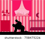 grandfather carrying a child... | Shutterstock .eps vector #758475226