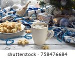 christmas and new year holiday... | Shutterstock . vector #758476684