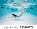 wide shot of caucasian female... | Shutterstock . vector #758478274