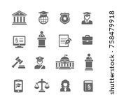 law   justice icon set | Shutterstock .eps vector #758479918