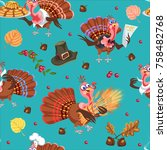seamless pattern cartoon... | Shutterstock .eps vector #758482768