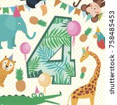 happy birthday card with number ... | Shutterstock .eps vector #758485453