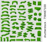 green web ribbon set  vector... | Shutterstock .eps vector #758487100