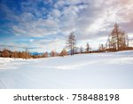 beautiful alpine mountains. a... | Shutterstock . vector #758488198