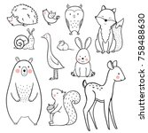 Stock vector the linear vector children s illustration set of cute forest animals 758488630