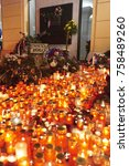 Small photo of Prague, Czech Republic - November 17, 2017: Citizens lighting candles as a symbol of the Velvet Revolution commemorating the events of 17 November 1989 in Prague, Czech Republic, 17 November 2017.