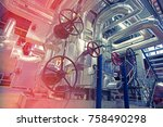 equipment  cables and piping as ... | Shutterstock . vector #758490298