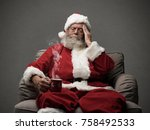 sad santa claus having an... | Shutterstock . vector #758492533